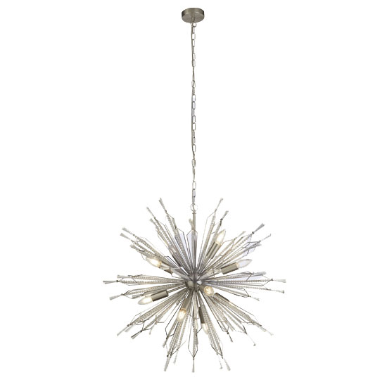 Starburst 10 Pendant Light In Chrome With Clear Bead Detail