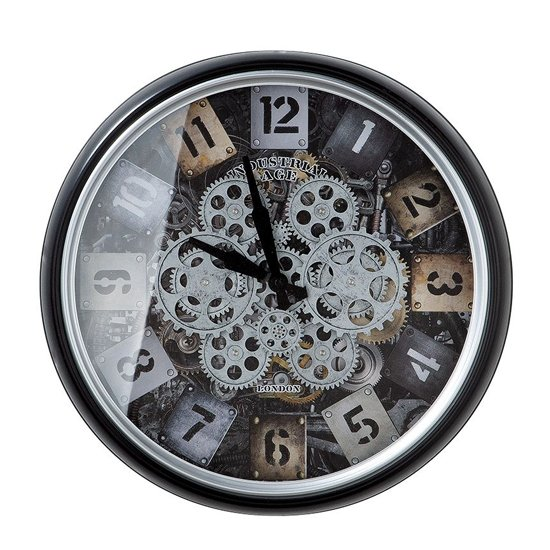 Starls Glass Wall Clock With Black And Silver Metal Frame