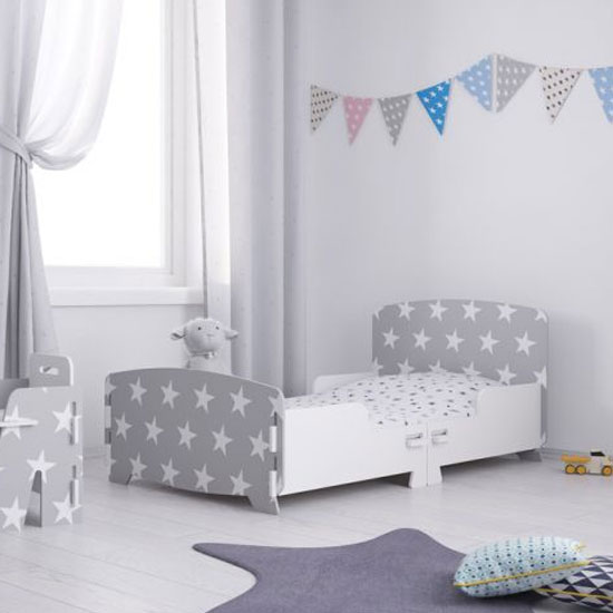 Stars Design Kids Junior Single Bed In Grey And White