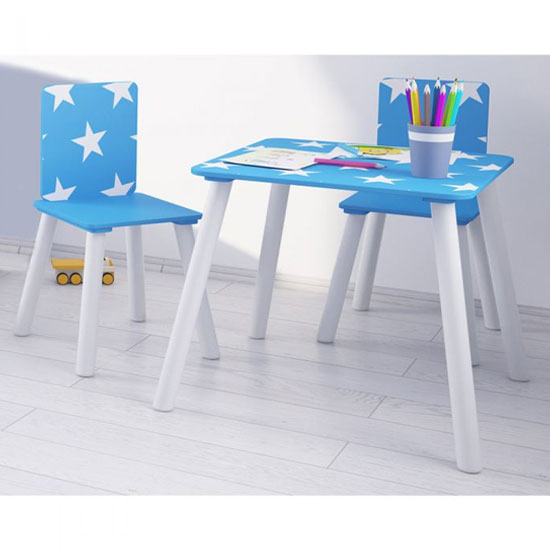 Stars Design Kids Sqaure Table With 2 Chairs In Blue And White
