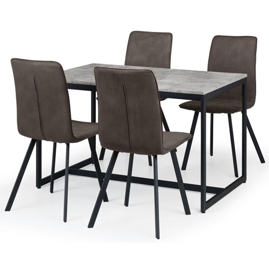 Staten Dining Set With 4 Monroe Charcoal Grey Suede Chairs_2