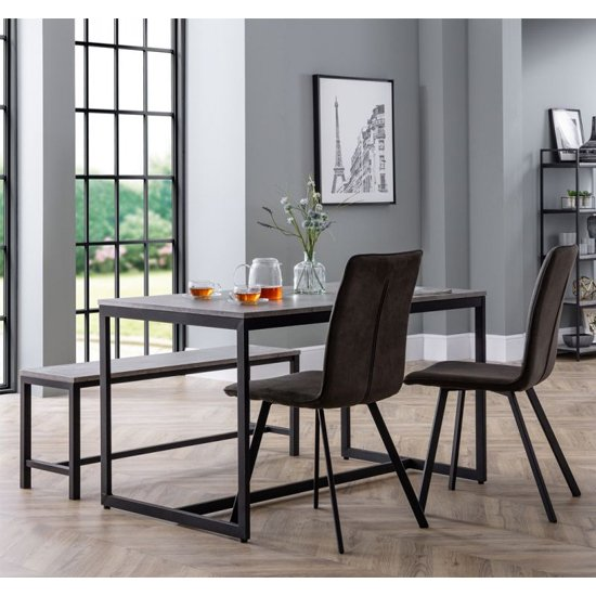 Staten Dining Set With Bench And 4 Monroe Charcoal Grey Chairs