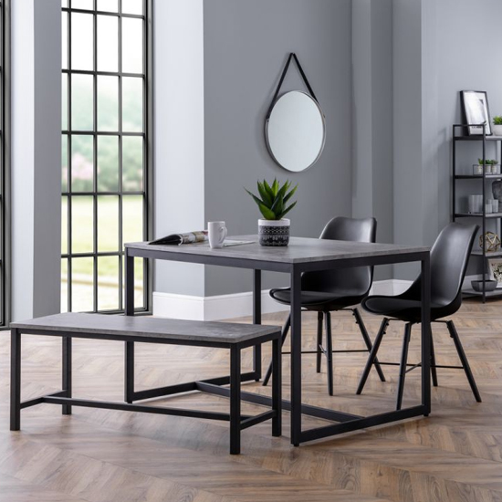 Staten Dining Set In Concrete With Bench And 2 Kari Black Chairs