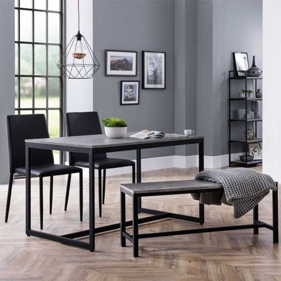 Staten Dining Set With Staten Bench And 2 Jazz Black Chairs