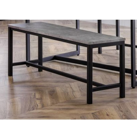 Staten Metal Dining Bench In Concrete Effect_1