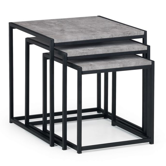 Staten Metal Set Of 3 Nesting Tables In Concrete Effect_2
