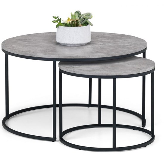 Staten Nesting Round Metal Coffee Tables In Concrete Effect_2
