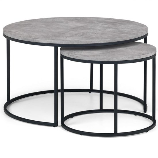 Staten Nesting Round Metal Coffee Tables In Concrete Effect_3