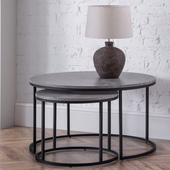 Staten Nesting Round Metal Coffee Tables In Concrete Effect
