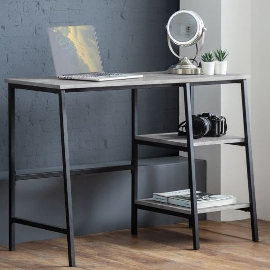 View Staten wooden laptop desk in concrete effect with 2 shelves