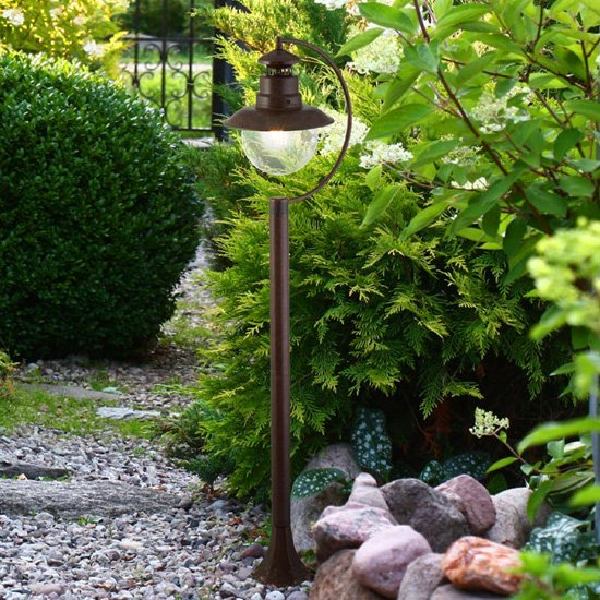 Station Outdoor Clear Acrylic Tall Post Light In Rustic Brown