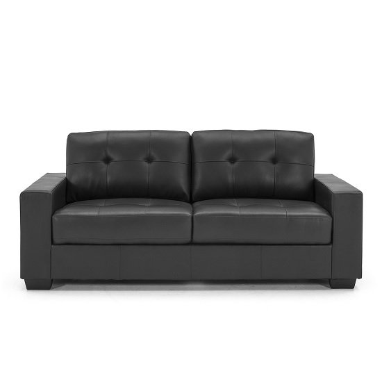 Stavern 3 Seater Sofa In Black Bonded Leather With Wooden Base