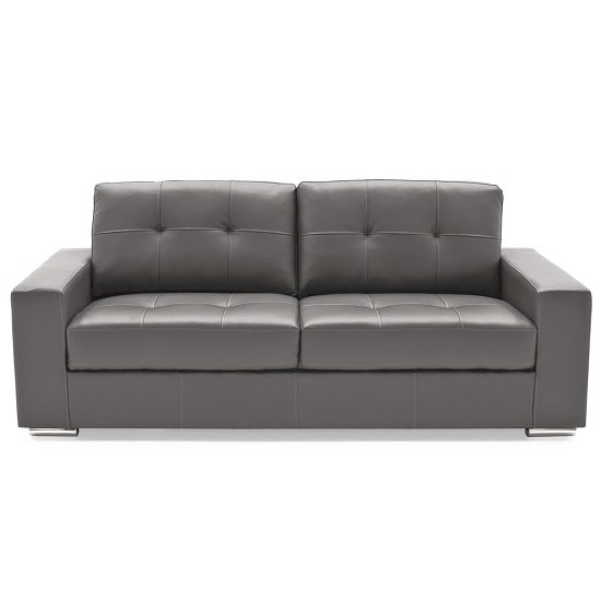 Stavern 3 Seater Sofa In Grey Bonded Leather With Chrome Base
