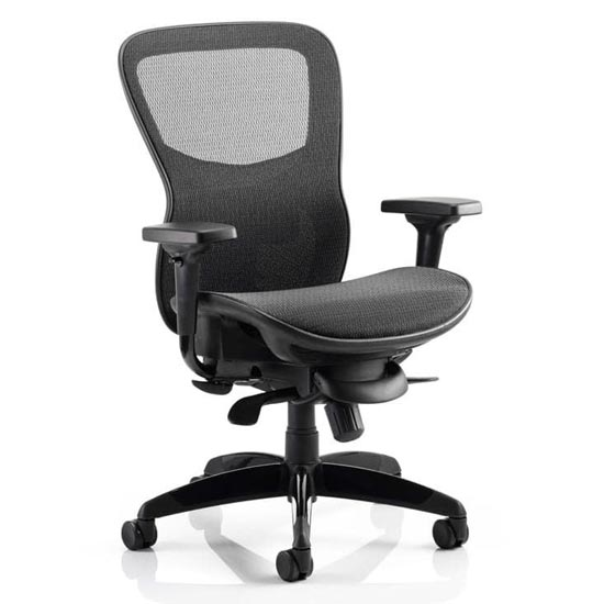 Stealth Shadow Ergo Fabric Office Chair In Black Mesh Seat