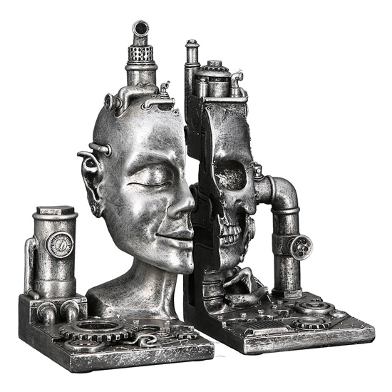Steampunk Bookend Skull Poly Sculpture In Antique Silver