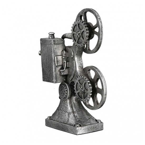 Steampunk Camera Poly Sculpture In Antique Silver_2