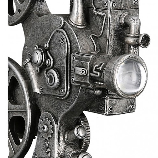 Steampunk Camera Poly Sculpture In Antique Silver_3