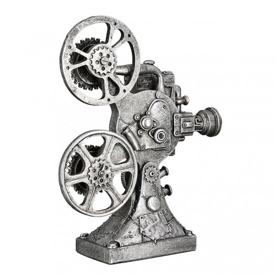 Steampunk Camera Poly Sculpture In Antique Silver_1