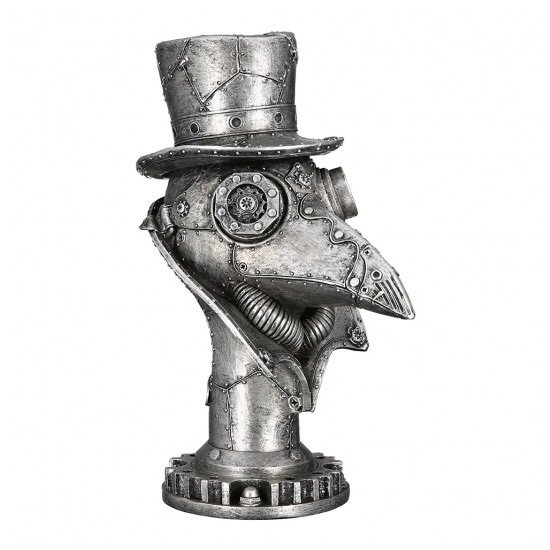 Steampunk Crow Poly Sculpture In Antique Silver