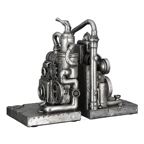 Steampunk Machine Poly Sculpture In Antique Silver