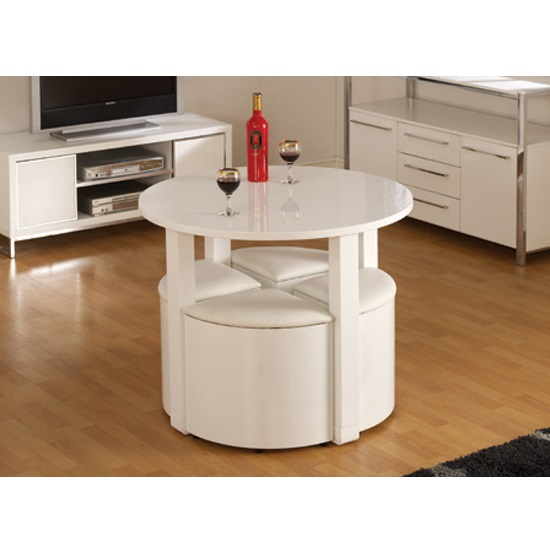 Stefan Stowaway White Gloss Round Dining Table And 4 White Stool