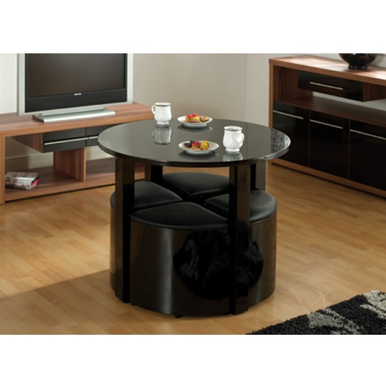 Stefan Stowaway Black Gloss Round Dining Table And 4 Black Stool
