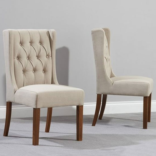 Stefini Beige Fabric Dining Chairs In A Pair