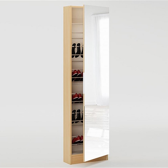 Steiner Mirrored Shoe Cabinet In Beech With 1 Door