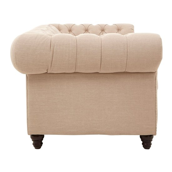 Poerava 3 Seater Linen Sofa In Beige     _3