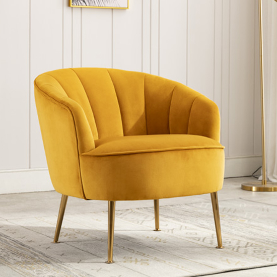 Stelloma Velvet Upholstered Tub Chair In Apricot_1