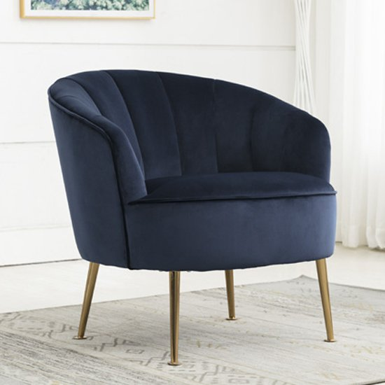 Stella Velvet Upholstered Tub Chair In Navy