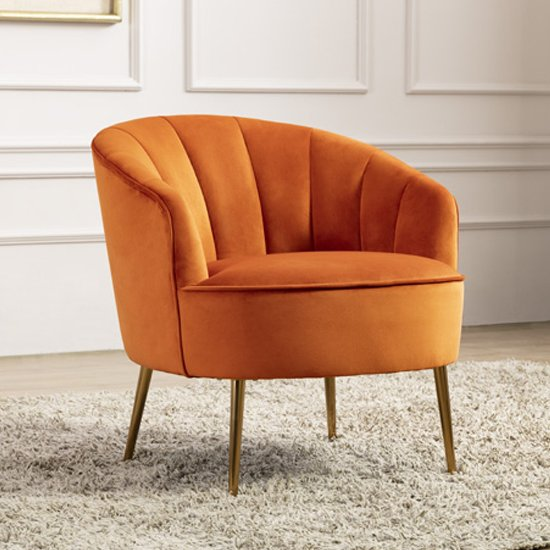 Stelloma Velvet Upholstered Tub Chair In Pumpkin