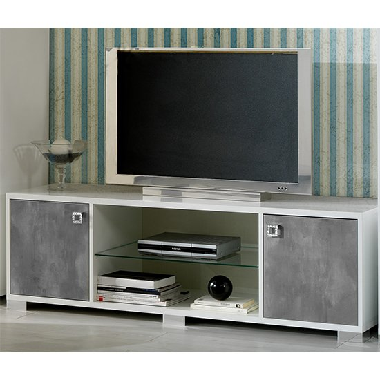 Stella TV Stand In White Gloss And Concrete Effect With 2 Doors