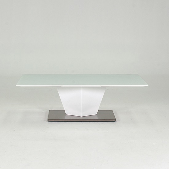 Stella Coffee Table In Frosted Glass With White Gloss Metal Base