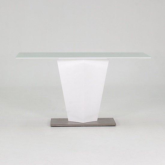 Stella Console Table In Frosted Glass And White Gloss Metal Base
