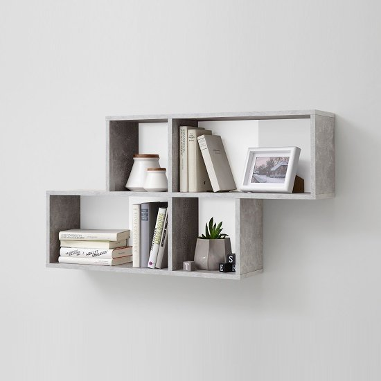 Stella Wall Mounted Display Shelf In White And Light