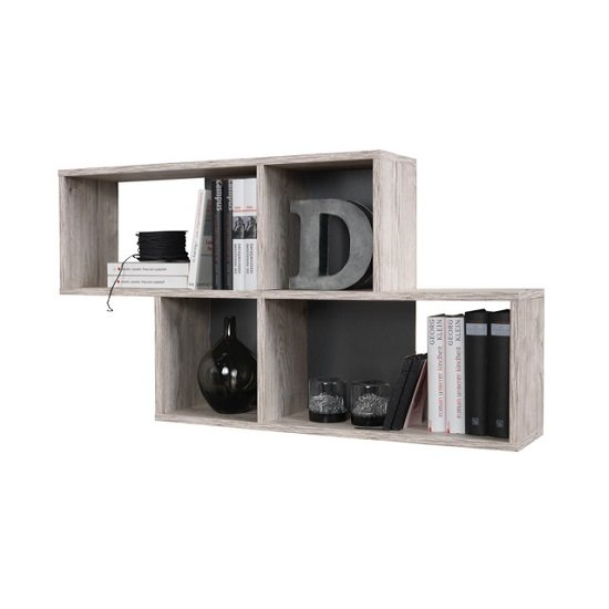 stella wall mounted display shelf in sand oak and. Black Bedroom Furniture Sets. Home Design Ideas