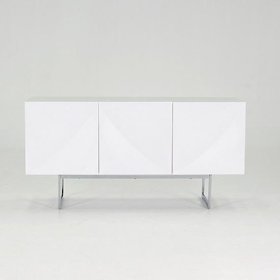 Stella Modern Sideboard In White Gloss With Metal Base