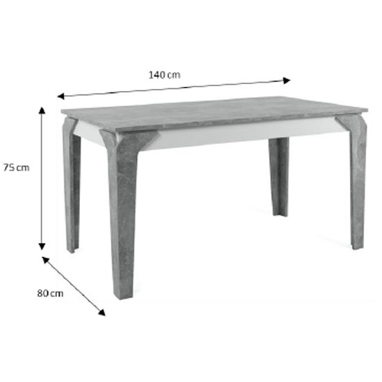Stettin Wooden Dining Table In Structured Concrete And White_2