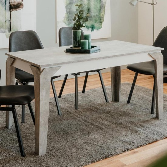 Stettin Wooden Dining Table In Structured Concrete And White_3