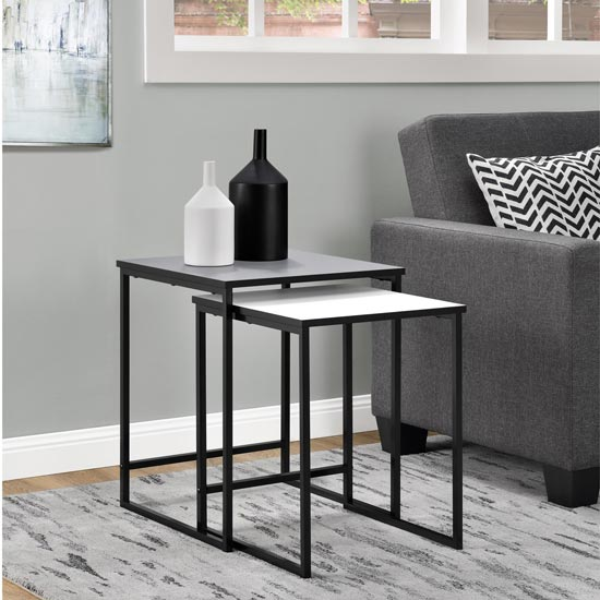 Stewart Set of 2 Nesting Tables In Grey And White