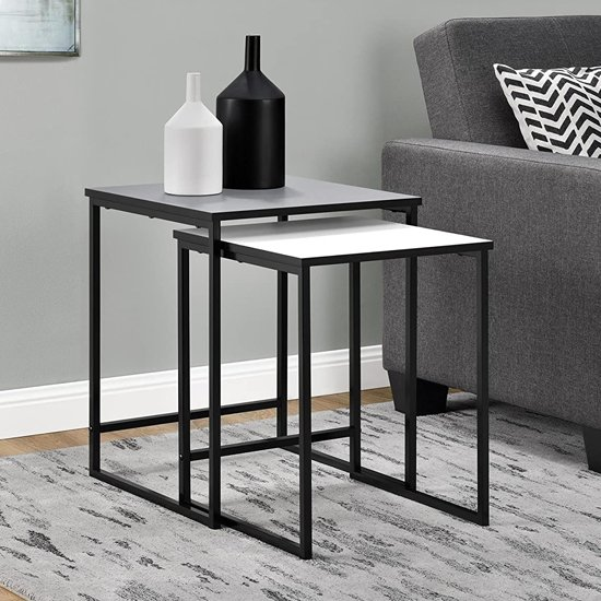 Stewart Wooden Set Of 2 Nesting Tables In Grey And White