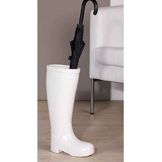Stiefel Rain Boot Ceramic Umbrella Stand In White 30146