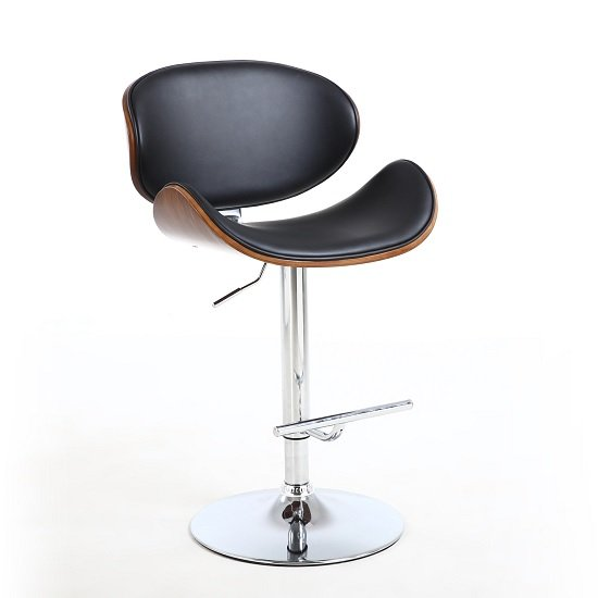 Stinson Bar Stool In Black PU And Walnut With Chrome Base