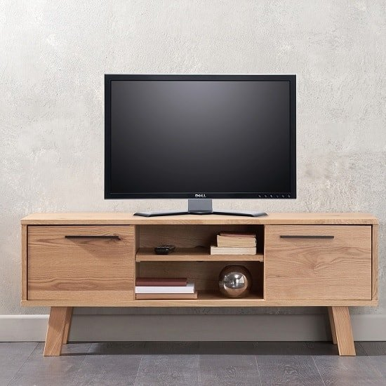 Stinson TV Stand In Oak With 2 Doors And Open Compartments