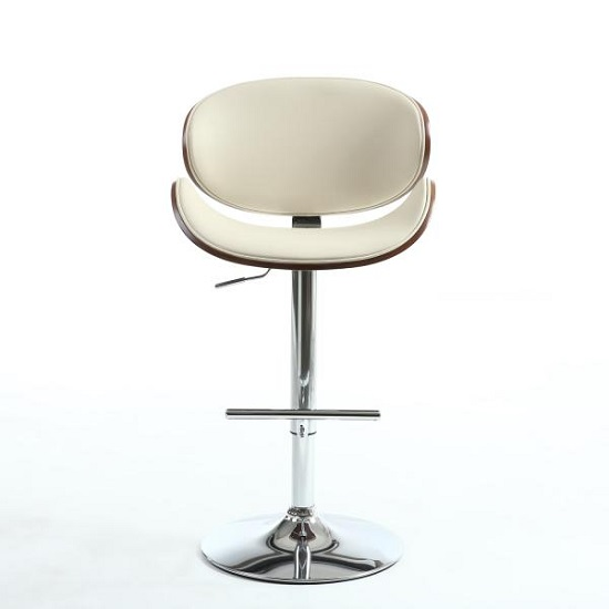 Stinson Bar Stool In Cream PU And Walnut With Chrome Base_2