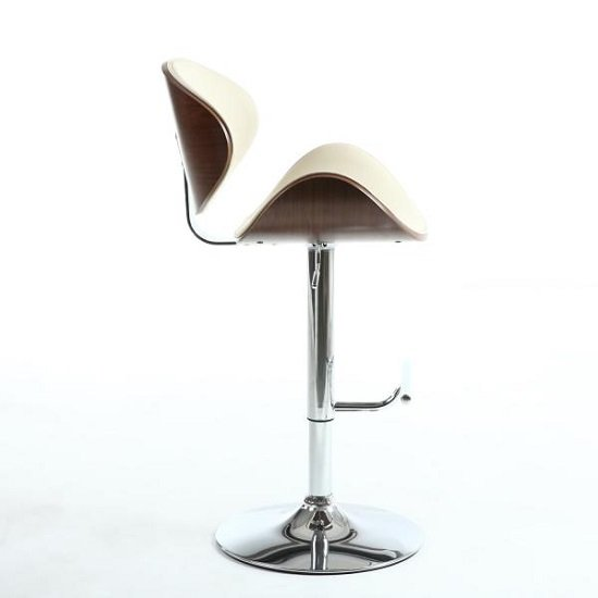 Stinson Bar Stool In Cream PU And Walnut With Chrome Base_3