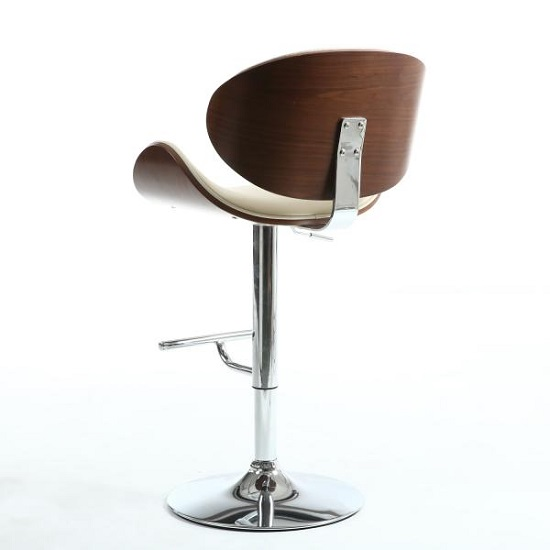 Stinson Bar Stool In Cream PU And Walnut With Chrome Base_4