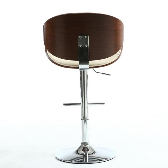 Stinson Bar Stool In Cream PU And Walnut With Chrome Base_5
