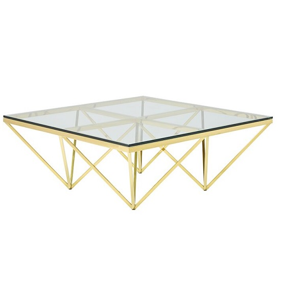 View Stirling glass coffee table square in gold finish frame